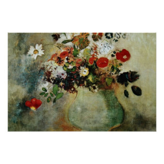 Red Flowers, Odilon Redon flowers Poster