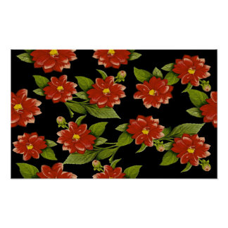 Red Flowers on Black Poster