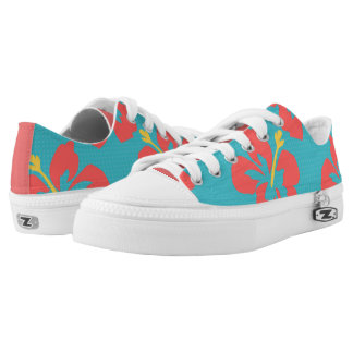Red flowers on light blue background low tops