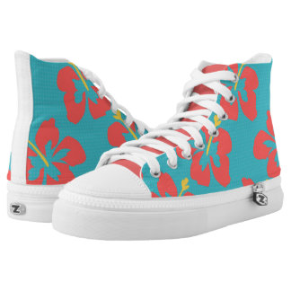 Red flowers on light blue background printed shoes