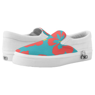 Red flowers on light blue background Slip-On shoes