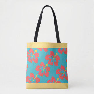 Red flowers on light blue background tote bag
