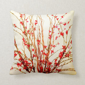 Red Flowers on Light Tan Throw Pillow