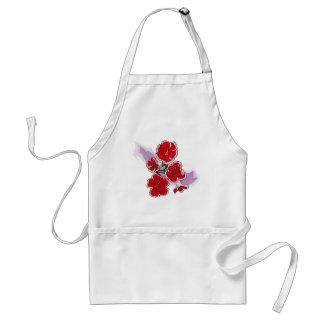 Red Flowers on Purple Swipe Apron