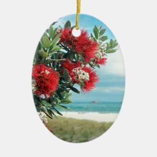 Red flowers paradise beach New Zealand summer Ceramic Oval Decoration