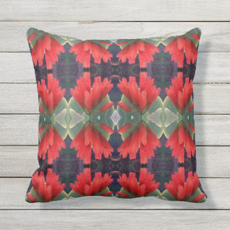 Red Flowers Pattern 2 Outdoor Cushion