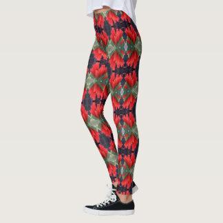 Red Flowers Pattern 3 Leggings