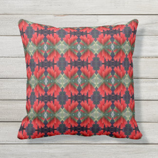 Red Flowers Pattern 3 Outdoor Cushion