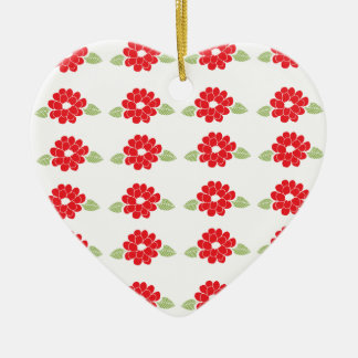 Red Flowers Pattern Ceramic Heart Decoration