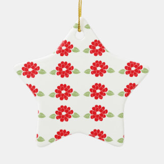 Red Flowers Pattern Ceramic Star Decoration