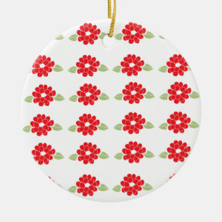 Red Flowers Pattern Round Ceramic Decoration