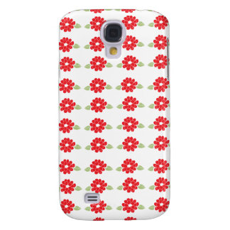 Red Flowers Pattern Samsung Galaxy S4 Cover