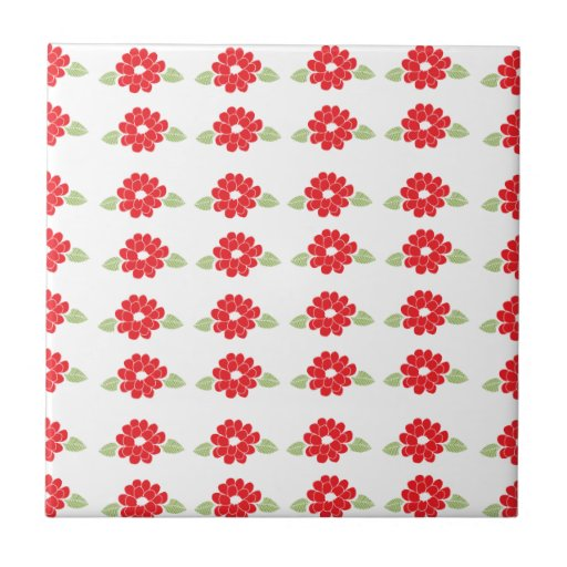 Red Flowers Pattern Ceramic Tile