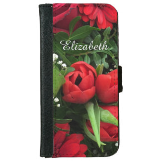 Red Flowers Personalized iPhone5/5s Wallet Case