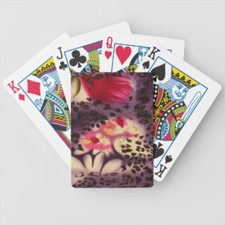 Red Flowers Purple Leopard Print Design Bicycle Playing Cards