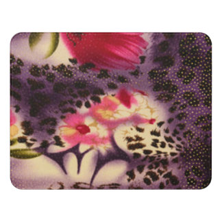 Red Flowers Purple Leopard Print Design Door Sign