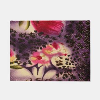 Red Flowers Purple Leopard Print Design Doormat