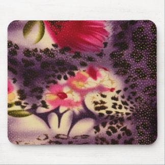 Red Flowers Purple Leopard Print Design Mouse Pad