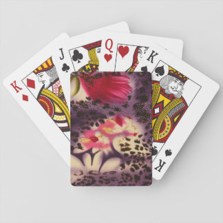 Red Flowers Purple Leopard Print Design Playing Cards