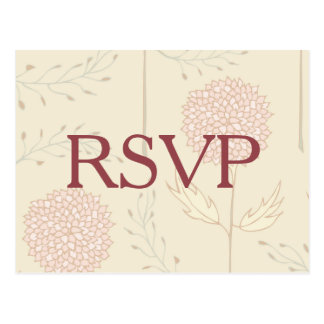 Red Flowers RSVP Postcard