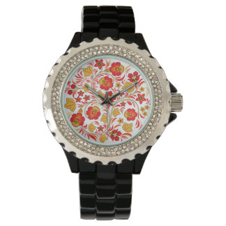 Red Flowers Russian Khokhloma Floral Design Watch