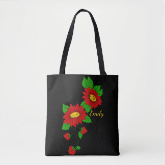 Red Flowers & Strawberries Personalized on Black Tote Bag