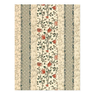 Red Flowers Tapestry Art Wallpaper Drawing Old Postcard
