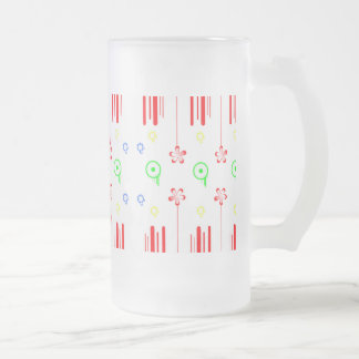 Red flowers with lines and circles frosted glass beer mug