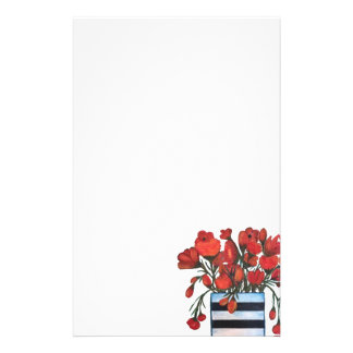 Red Flowers with Striped Vase Fine Art Stationery
