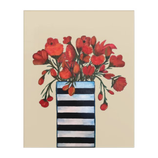 Red Flowers with Striped Vase Painting Acrylic Wall Art