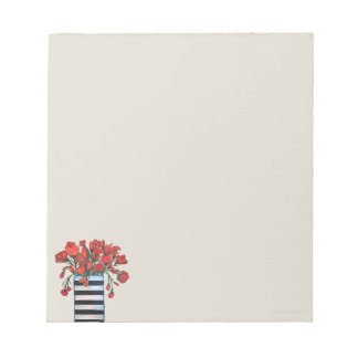 Red Flowers with Striped Vase Painting Notepad