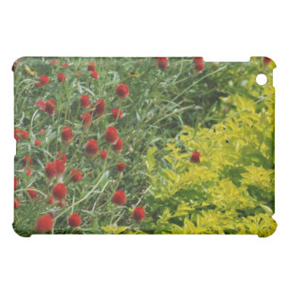 red flowers with yellow plants iPad mini case
