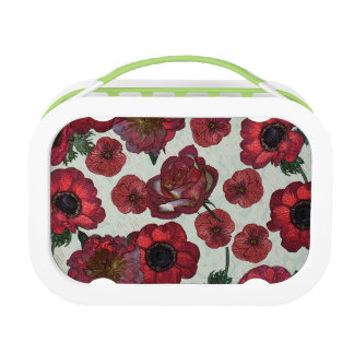 Red flowers Yubo Lunchbox, Green Lunch Box