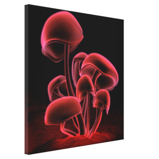 Red Fluorescence Square Canvas Print