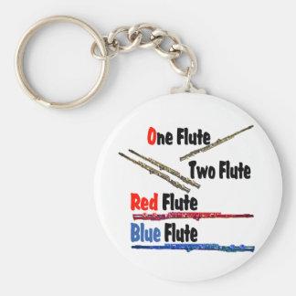 Red Flute Blue Flute Key Ring