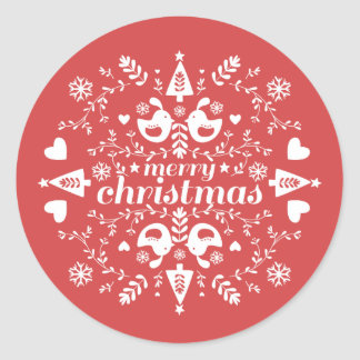 Red Folk Christmas Cheer Round Sticker