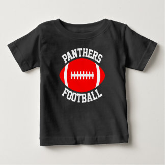 Red Football Baby Custom Team Name & Jersey Number Baby T-Shirt