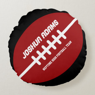 Red Football Games Sports Team Round Pillows