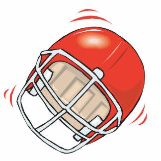 red football helmet standing photo sculpture