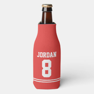 Red Football Jersey - Sports Theme Birthday Party Bottle Cooler