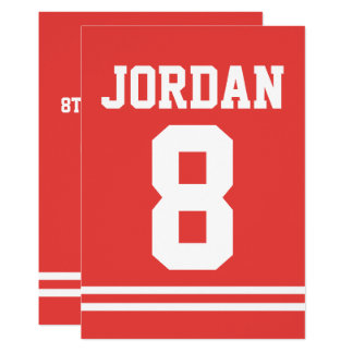 Red Football Jersey - Sports Theme Birthday Party Card