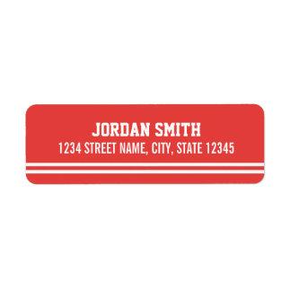 Red Football Jersey - Sports Theme Birthday Party Return Address Label