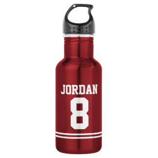 Red Football Jersey with Custom Name and Number 532 Ml Water Bottle