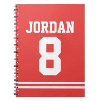 Red Football Jersey with Custom Name and Number Notebook