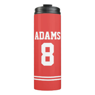 Red Football Jersey with Custom Name and Number Thermal Tumbler