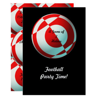 Red Football Party (add photo, change size) 13 Cm X 18 Cm Invitation Card