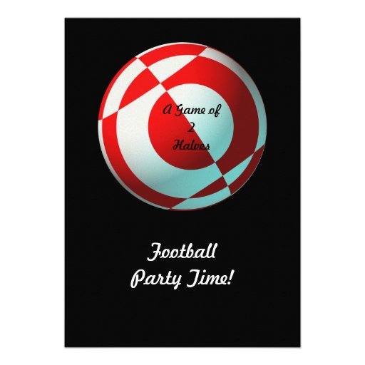 Red Football Party (add photo, change size) Invitation