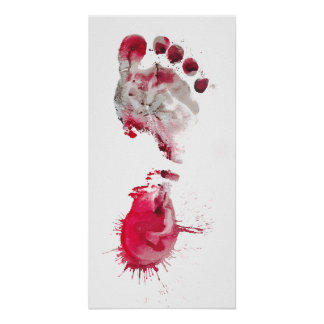Red Footprint Poster