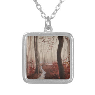 Red Forest Silver Plated Necklace