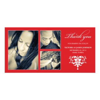 RED FORMAL COLLAGE | WEDDING THANK YOU CARD PHOTO GREETING CARD